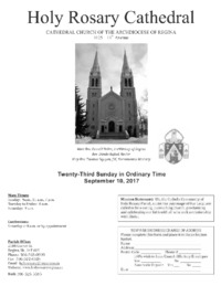 Holy Rosary Cathedral Bulletin 2017-09-10