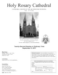 Holy Rosary Cathedral Bulletin 2017-09-03